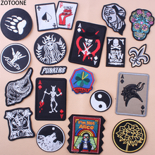 ZOTOONE Poker Punk Skull Patches for Clothing Stickers DIY Iron on Patch Embroidered Applications Badges Appliques Clothes E
