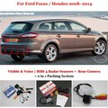 For Ford Focus / Mondeo 2008~2014 - Car Parking Sensors + Rear View Camera = 2 in 1 Visual / BIBI Alarm Parking System