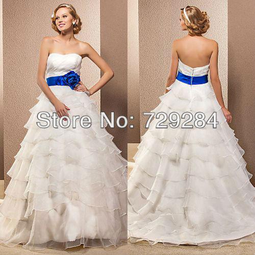 White With Blue Sash Wedding Dress Fashion Dresses