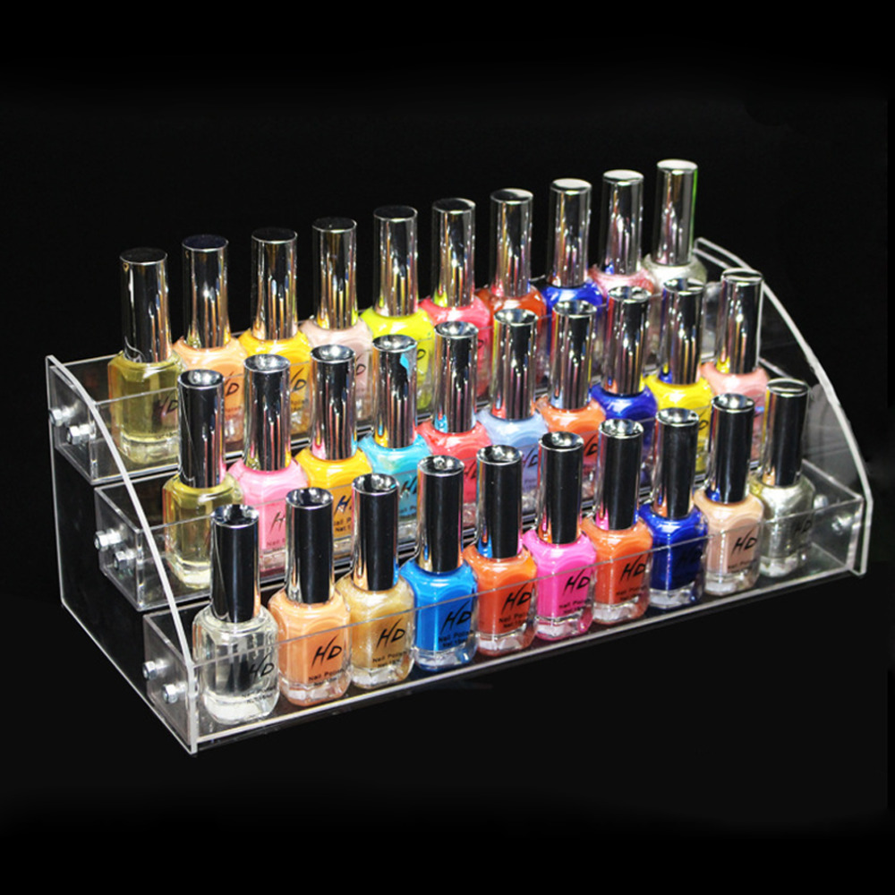 New Promotion Makeup Cosmetic 3 Tiers Clear Acrylic Organizer Mac Lipstick Jewelry Display Stand Holder Nail Polish Rack