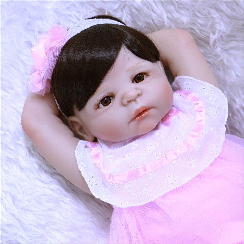 2017 New Full Silicone Reborn Pink baby dolls bebe cute girl Lifelike Baby-Reborn  bonecas  for children xmas gift full silicone reborn dolls