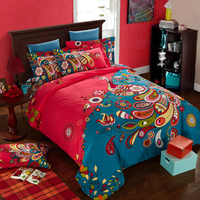 2017 Hot Sale Bohemia Bedding Set Cover 100% Cotton Floral Pattern Duvet Cover Bed Sheet Pillow Sham Cover 4PC Queen King Size