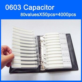 New 0603 SMD Capacitor Sample Book 80valuesX50pcs=4000pcs 0.5PF~4.7UF Capacitor Assortment Kit Pack