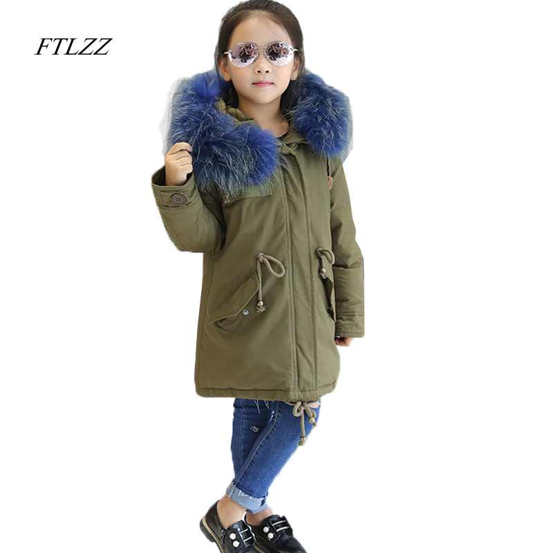 Kids Winter Duck Down Jacket Coat Large Raccoon Fur Hooded Baby Girls Boys  Parka Down Coats Outerwear Jackets Children Clothes girls down coats girl winter collar hooded outerwear coat children down jackets childrens thickening jacket cold winter 3 13y