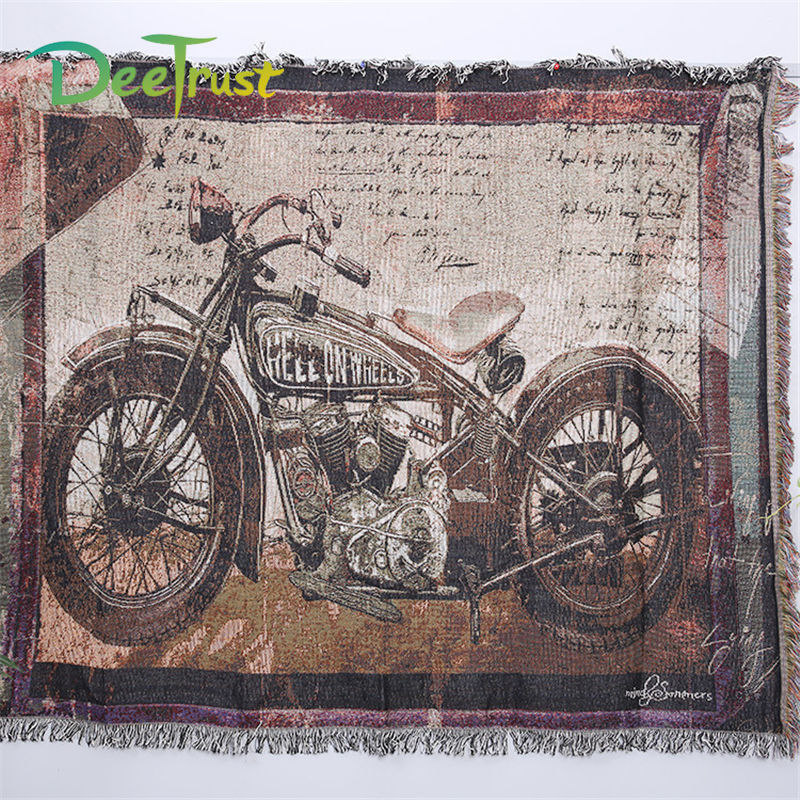 Retro American Locomotive Cotton Thicken Motorcycles Blanket Throw On Sofa Bed thread Blanket Table Decorative Blanket