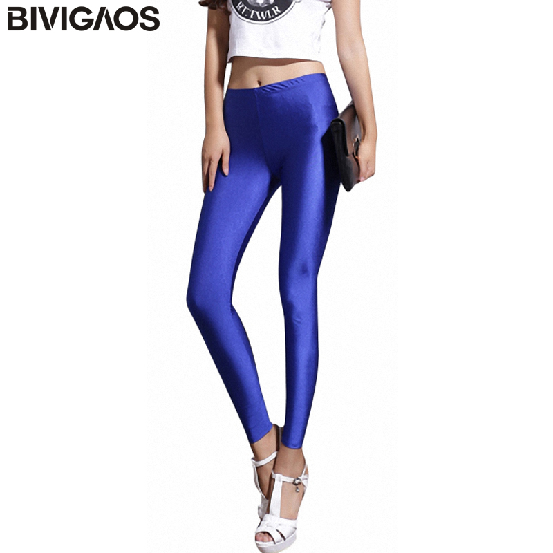 BIVIGAOS Fluorescerende Farge Leggings Bukser Kvinner Is Silke Spandex Elastiske Leggings Flerfarget Skinnende Glossy Leggings For Women