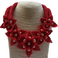 Dudo African Jewelry Set Red Crystal Flowers Jewellery Set 2 Rows Godki Bib Indian Necklace Set Including Bracelet Earrings 2019