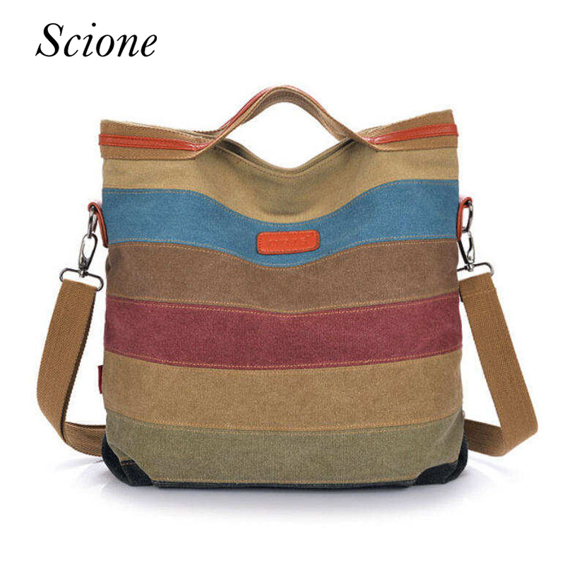 Canvas Shopping Tote Striped Women Handbags Patchwork Shoulder Bag Fashion Sac a Main Femme De Marque Casual Bolsos Mujer Li187 bolsos bolsas sac a main femme de marque canvas shoulder ladies hand women messenger tote bags handbags famous designer brands