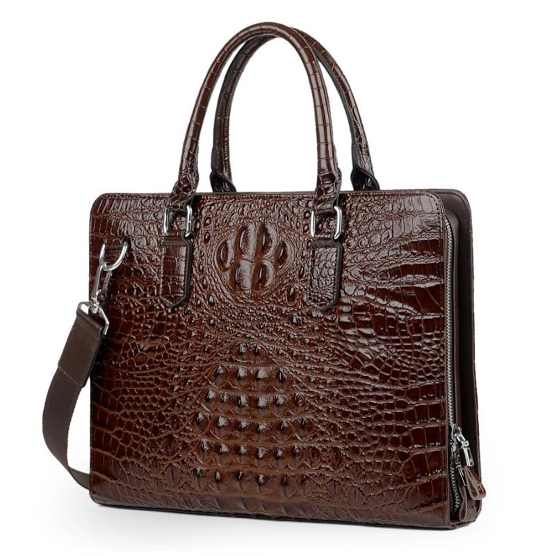100% Cow Genuine Alligator Leather Men Briefcase Bag Business Handbag Laptop Shoulder Bags Tote Computer Natural Men Briefcase