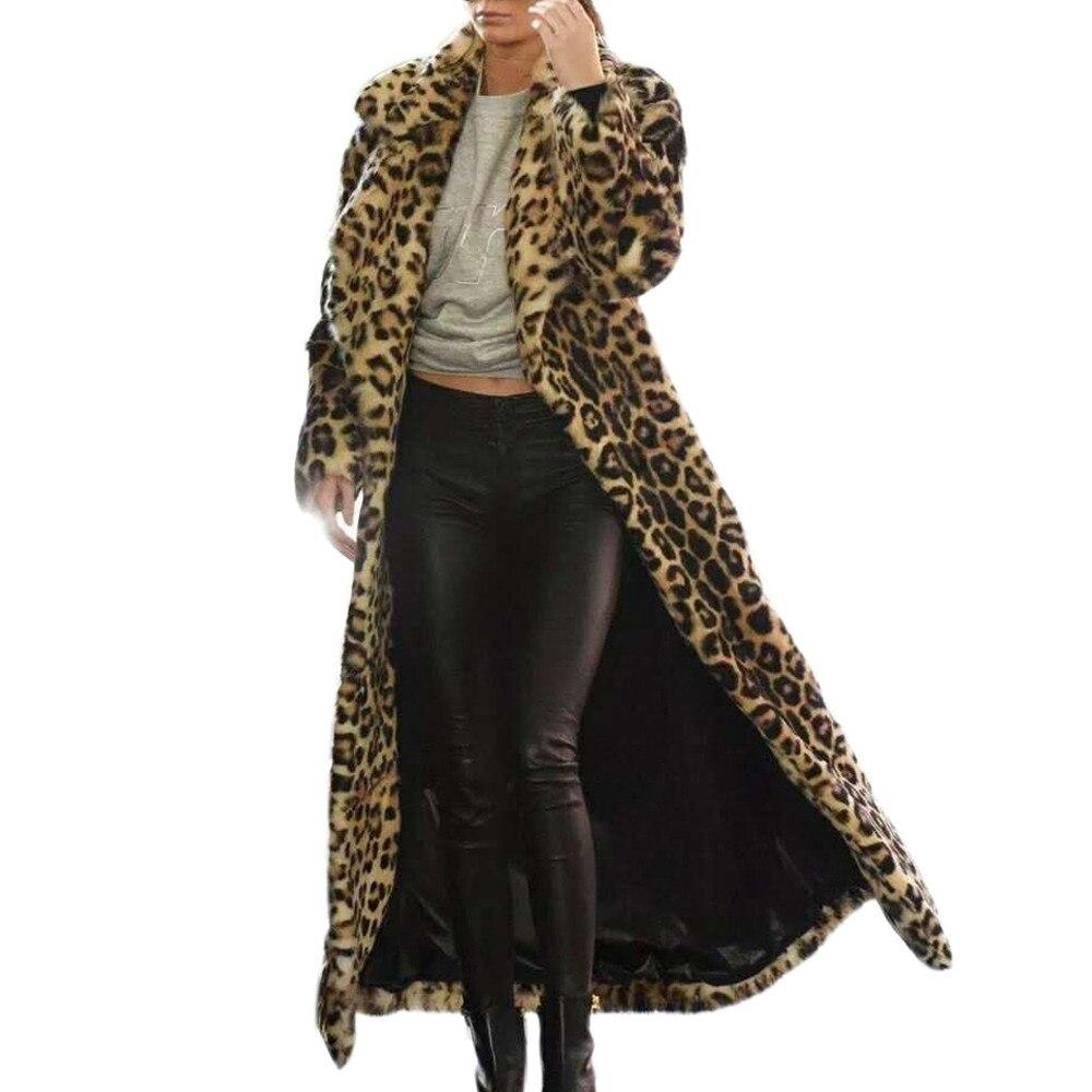 Hot Sale Ladies Leopard Print Outwear New Fashion Warm Long Thick Fur Cotton Parka Slim Jackets