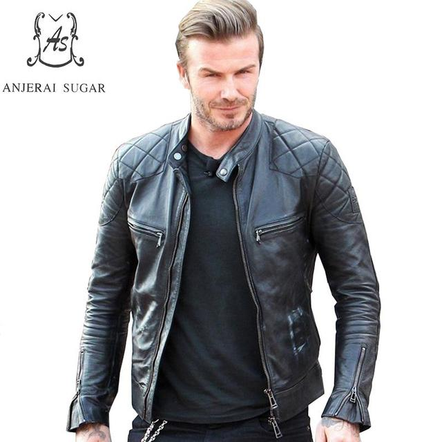 Plus Size real sheepskin genuine leather jacket men black David Beckham Vintage zipper Moto Bike Motorcycle coat Punk jackets
