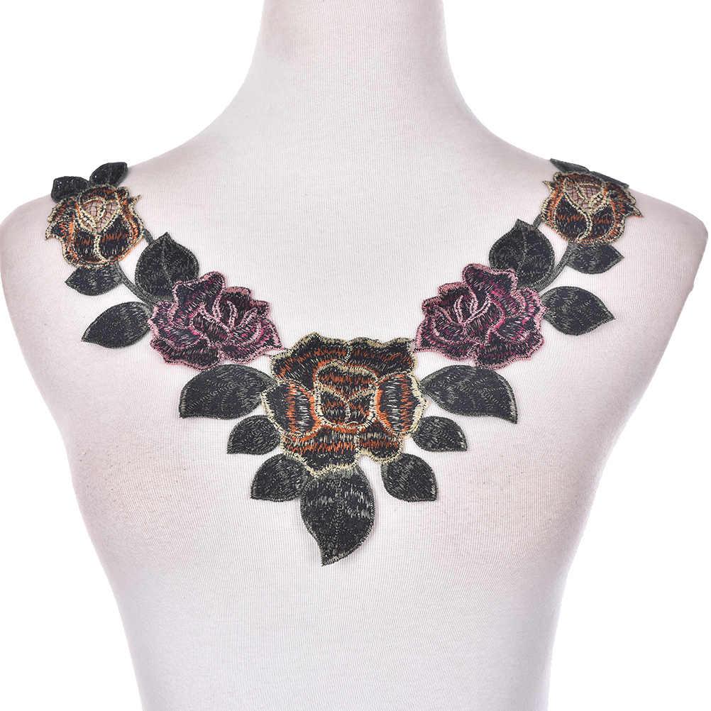 1PCS Fiore Floreale Ricamato in Pizzo Scollo Collare Assetto Collo di Applique del Vestito Dai Vestiti Forniture Per Cucire Craft Accessori Classici