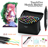 TouchFive 12 40 80 168 Colors Drawing Markers Pen Alcohol Dual Headed Tips For Manga Drawing