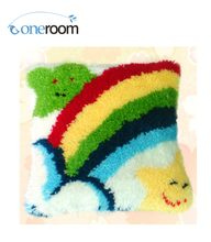BZ010 Rainbow and Stars Hook Rug Kit Pillow DIY Unfinished Crocheting Yarn Mat Latch Hook Rug Kit Floor(China)
