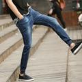2017 nova Hiphop Calças Dos Homens de Moda Verão calças de Brim Azul Calças Jeans Fino Azul Para O Sexo Masculino calça jeans Harém Casuais