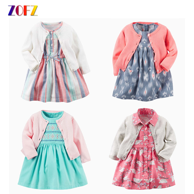 ZOFZ Baby Girl Dress for Bebes 2pcs Print Cotton Dresses for Girls O-Neck Clothing with Long Sleeve Cardigan Baby Girl Clothes baby girl clothes kids baby girls long sleeve o neck dress one piece dots deer cotton dresses toddlers clothes kids dress
