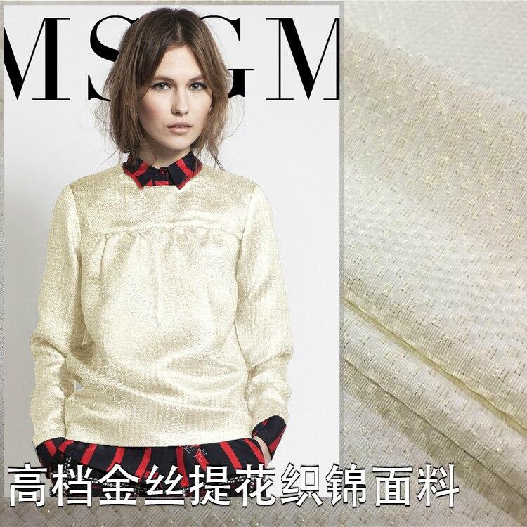 White high grade gold silk fabric jacquard fabric brocade big fabric autumn and winter dress jacket fashion fabric