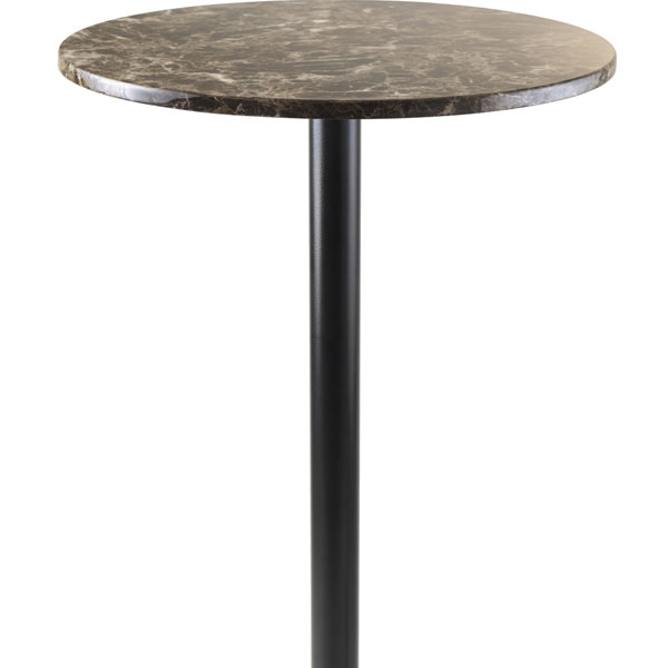 Winsome Cora Pub Table, Bar Height, Round, Faux Marble Top, Black Base virginia cavaliers l211 42 tall logo pub table by holland bar stool company with black wrinkle base and 28 table top diameter