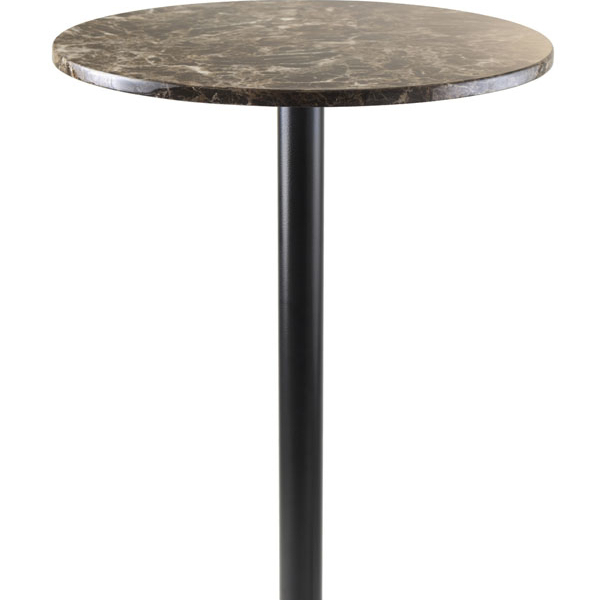 Winsome Cora Pub Table, Bar Height, Round, Faux Marble Top, Black Base