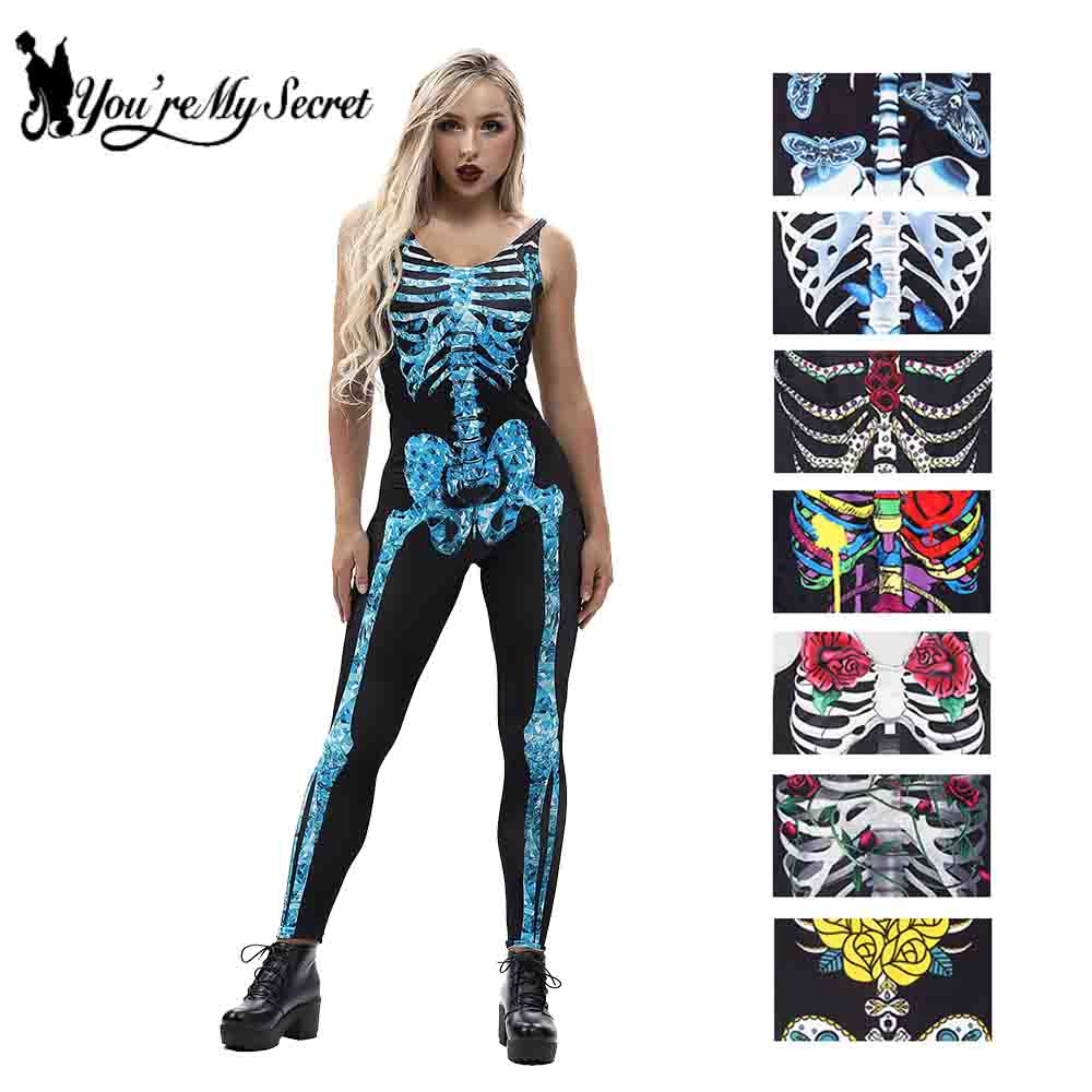 [You're My Secret] 2018 Halloween Fantastic Cosplay mujer Scary Constume sin mangas Catsuit esqueleto Rosa estampado fiesta mono