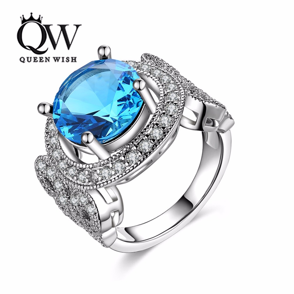 Queenwish Silver Color Copper Ring Sky Blue Glass Stone Inlay Wedding Bands  Sets Matching Couples Engagement Rings