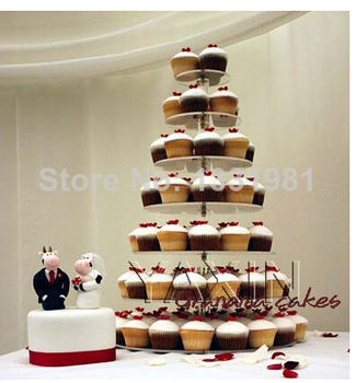 Manufacturers Selling Packages Mailed Transparent Tier 7 Round Acrylic Cupcakes Can Acrylic Cupcake Stand Wedding Decoration
