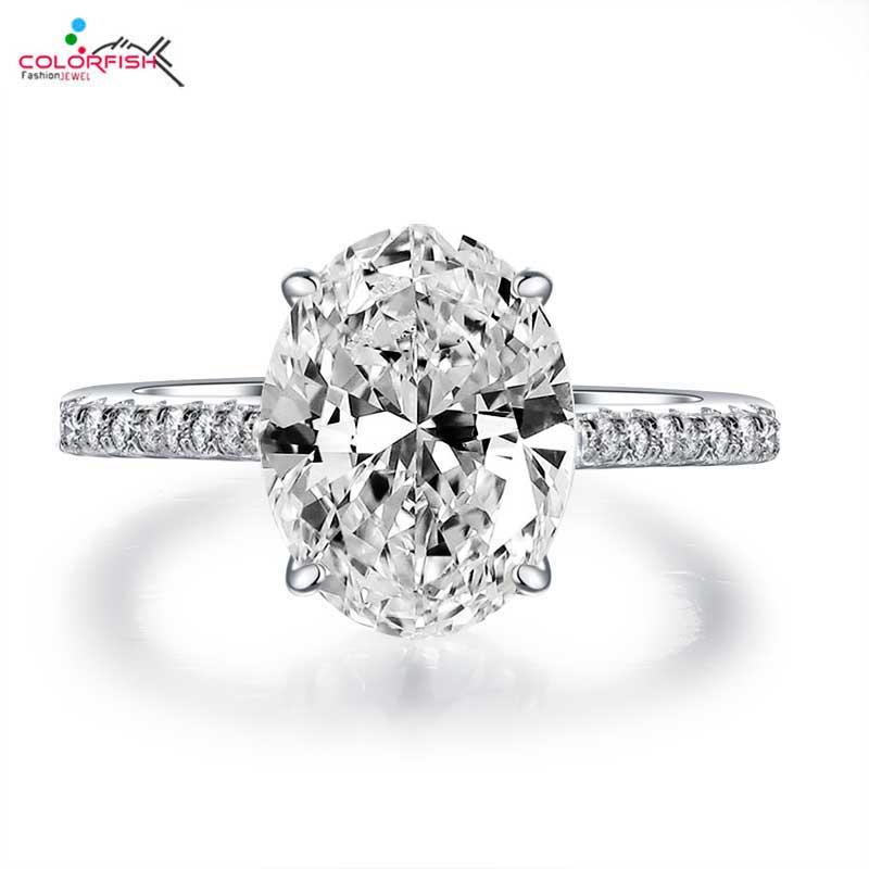 COLORFISH 4 carats bague de fiançailles ovale véritable 925 argent Sterling pavé ensemble AAA Zircon classique bijoux pour femmes anneaux de mariage