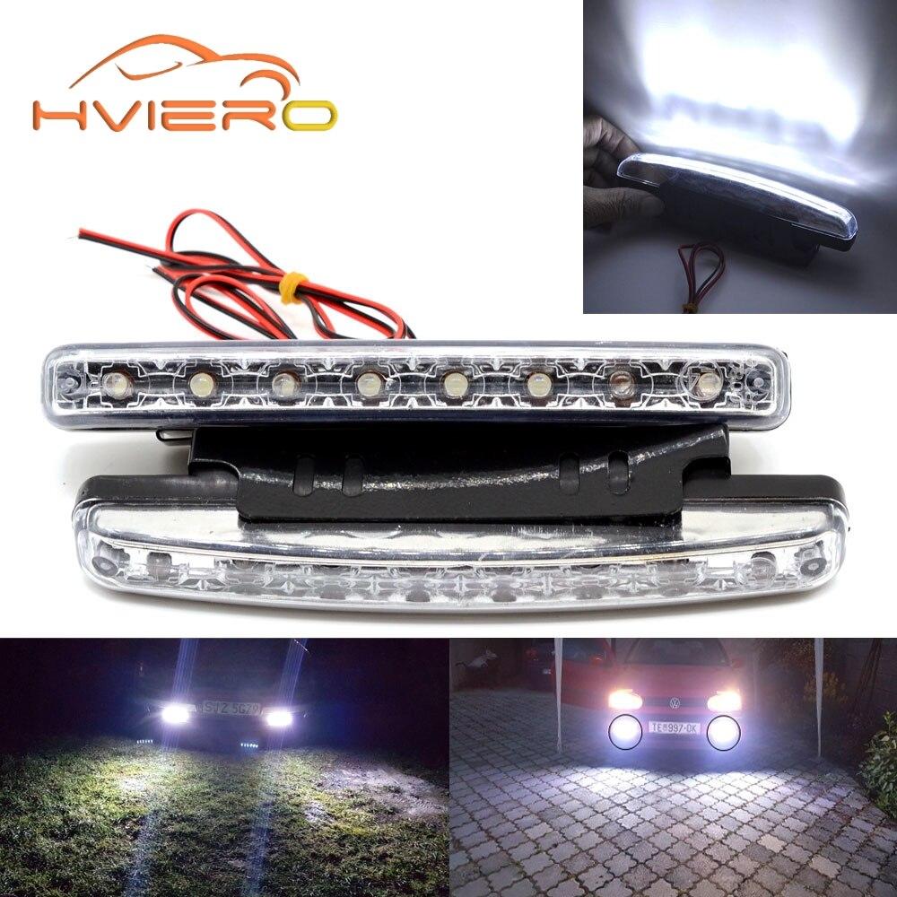 цена на Auto Car DRL Daytime Running Light with Lens Waterproof 8LED White DC 12V 24V Head Lamp Parking Bulb Fog Lamp Waterproof Light