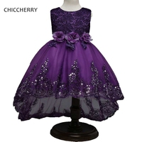 Purple Elegant Kids Lace Wedding Dress Flowers Ball Gown For Children Robe De Mariee Party Evening