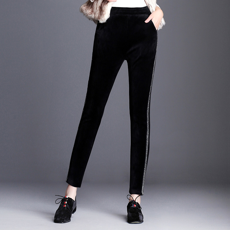 BGTEEVER Winter Women Side Stripe Pants Plus Size 6XL Thick Fleece Ladies Pencil Pants Black Elastic Waist Velvet Trousers 2019