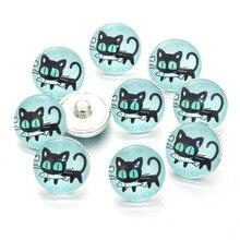 12 PCS Mix Styles Colors Black Cat Snap Buttons Charms 18mm Print Glass Cabochon Fit DIY Snap Bracelets&Bangles Jewelry 7266