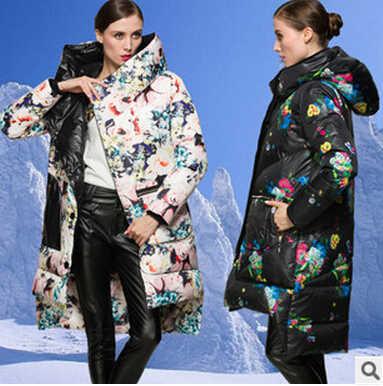 Las mujeres chaqueta de marca 2015 chaqueta de invierno 90% plumón de pato y Parka estampado de las mujeres abrigo Downs larga chaquetas prendas abrigos