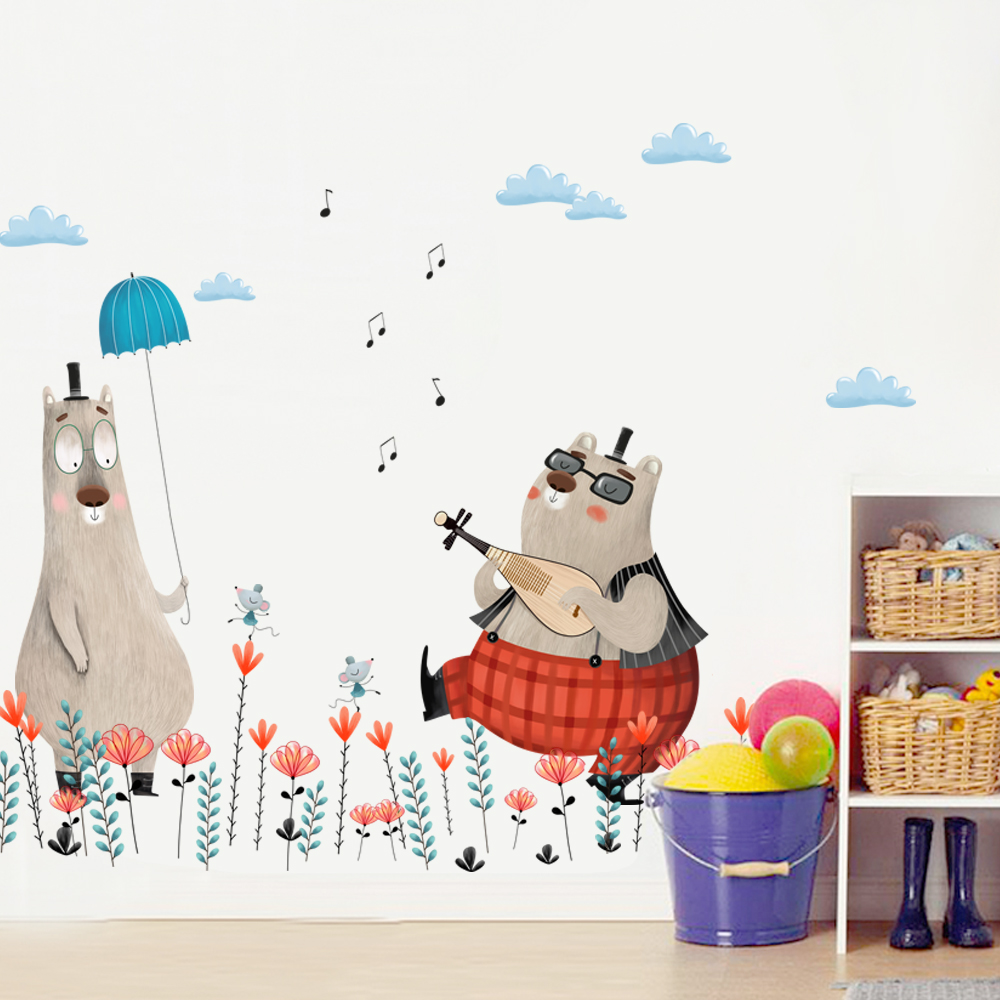 US $9.74 31% OFF|Fat cat wall stickers for kids rooms Children bedroom wall  stickers room decoration accessories animal decoration QT796-in Wall ...