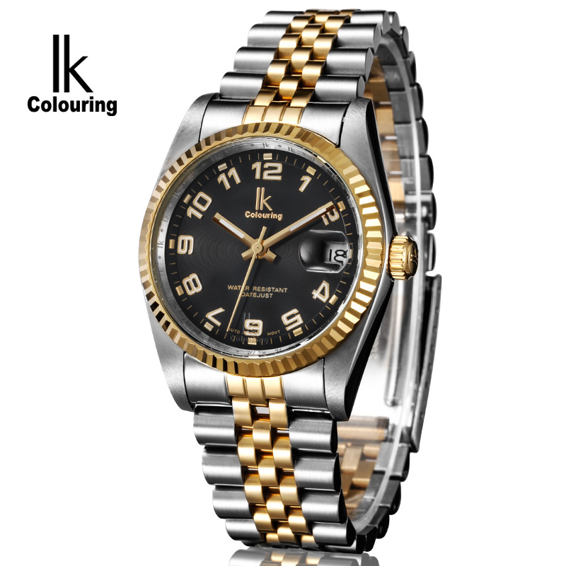 ФОТО reloj de los hombres mens automatic mechanical watches Business male clocks stainless steel waterproof wristwatches ik brand
