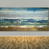 Large Size Hand Painted Abstract Seasacpe Oil Painting On Canvas Sea Wave Beach Wall Pictures For