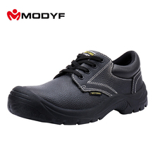 Modyf Men Steel Toe Work Safety Shoes Leather Casual Outdoor Steel Midsole Boots Puncture Proof Non Slip Footwear(China)