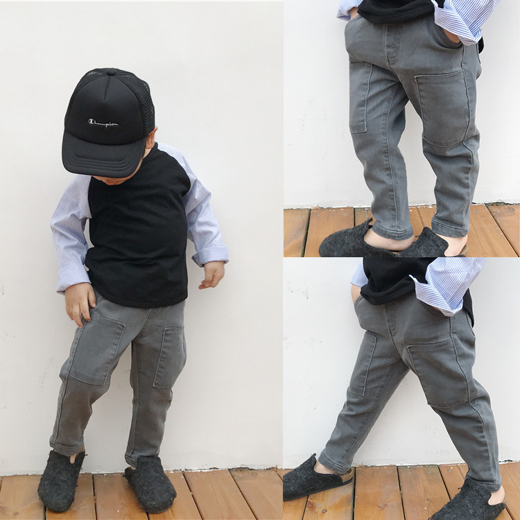 Boys Jeans Kids Trousers Fashion Children Girls Denim Pants Spring Autumn Baby Casual soft Long Pants Elastic Jeans Color Gray calvin klein baby boys gray polo with blue pants