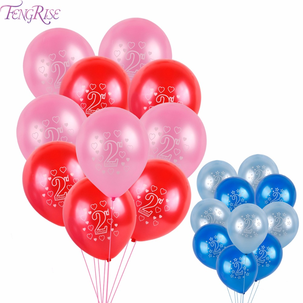 FENGRISE 10pcs 12 Inch Baby 2nd Birthday Balloons Pink Blue Latex Balloons TWO Years Birthday Party Decoration Baby Shower Decor