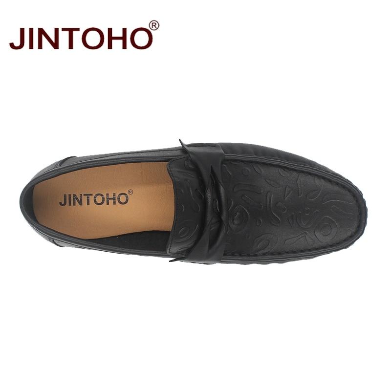 di nera scarpe dimensioni vera di marca Jintoho mocassini design di pelle Se barca casual uomini lusso Hei grandi appartamenti Zong uno in di STq05gw