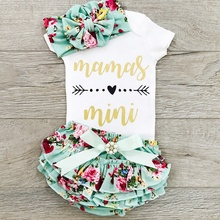 Toddler Baby Girl Mamas Mini Me Outfits Letter Print Short Sleeve Bodysuit Floral Ruffled Belt Shorts Clothes Sets стоимость