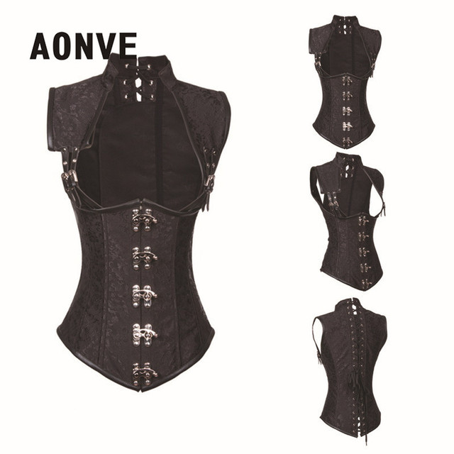 47b47e010d9 Black Steampunk Corset Clothing Women Brocade Gothic Full Steel Boned  Corsets and Bustiers Underbust Bustier Sexy
