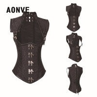 Black Steampunk Corset Clothing Women Brocade Gothic Full Steel Boned Corsets And Bustiers Underbust Bustier Sexy