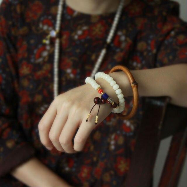 Chinese  Jewelry Rudraksha Bodhi mahogany Gourd Glass Bracelet T-138