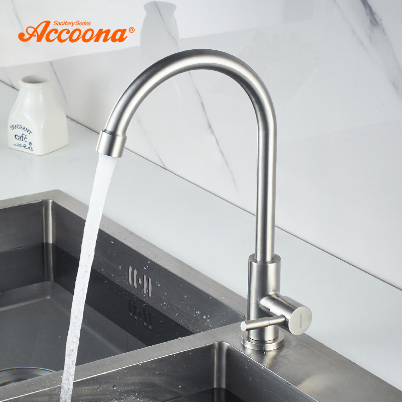 Accoona Kitchen Faucet Single Cold Water Faucet Classic Single Holder Single Hole Stainless Steel Kitchen Faucets Basin A4788