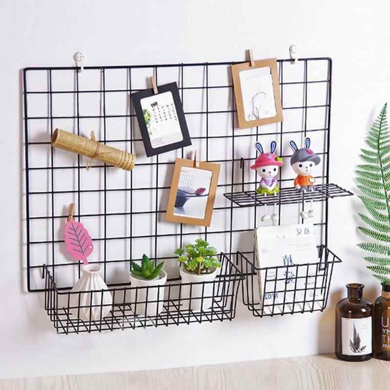 Wall Decoration Iron Frame Hanging Rack Wall Display Sundries Storage Bathroom Shelves Multifunction Mesh Wire Metal Wall Shelf