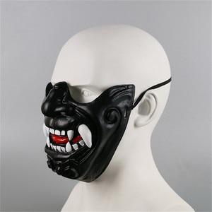 Image 2 - New Half Face Knight Warrior Japanese Ghost King Samurai Mask Halloween Cosplay Wall Mask Hannya Kabuki Evil Demon Onimaru Mask