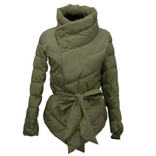 Women Cotton Winter Jacket Down Coat High Collar with Belt Parkas Winter Warm Outerwear Coats