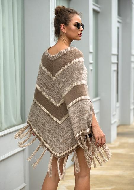 HEE GRAND Women batwing Sleeve Pullovers 2019 Autumn New Tassels Sweaters Fashion Geometric Knitted Outwear O-neck Cloak WZL1512 6