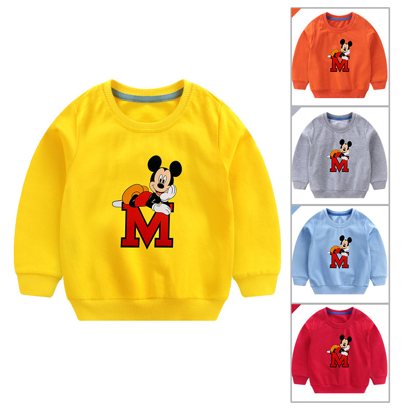 New Cartoon Pullover Tee 2019 Spring Autumn Kids Minnie Mickey Sweatshirt Tops Long Sleeve T-Shirt Boys Girls Child Baby Clothes(China)