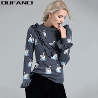 2016 Winter Cashmere Sweater Women Short Pullovers Sweater Butterfly Sleeve Design With Swan Pattern Cashmere Knitting
